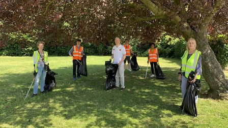 MP Andrew Rosindell and councillors litter picking in Hylands Park in June. Picture: Damian White