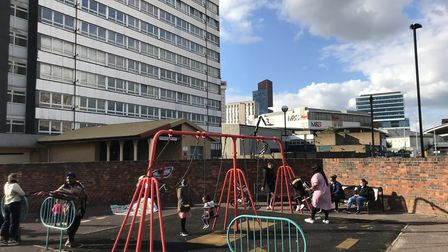 The playground outside the Dennison Point tower block remains open despite the majority of flats on
