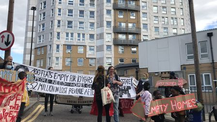 The protest began from the entrance to Brimstone House, which campaigners and residents allege isn't