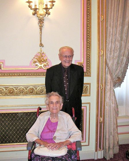 Phyllis and brother John at the Ritz Hotel after enjoying tea in the Palm Court. Picture: Alexandra