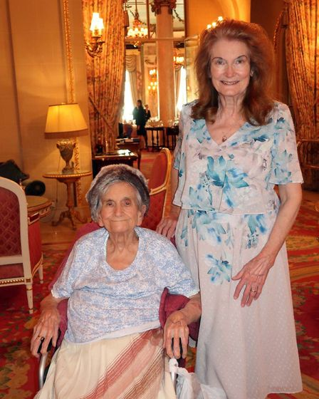 Mother and daughter pictured celebrating Phyllis' 100th birthday at the Ritz in October 2019. The 10