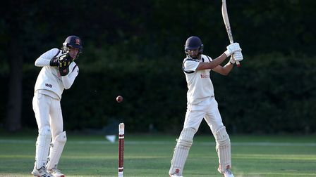 Naivedyam Dwivedi in batting action for Wanstead during Brentwood CC vs Wanstead and Snaresbrook CC,