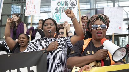 Campaigners for the London Black Women's Project at a protest around the future of its refuges. Pict