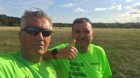 Alan Woodroof and Chris Madell at the Chingford League race (Pic: HWRC)