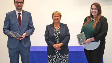 Pearson silver award winners Adam Higgins and Kirsty Ralston with The Royal Liberty School's headtea