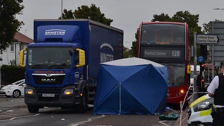 Two elderly pedestrians were struck by a lorry, one died at the scene and the other was rushed to ho