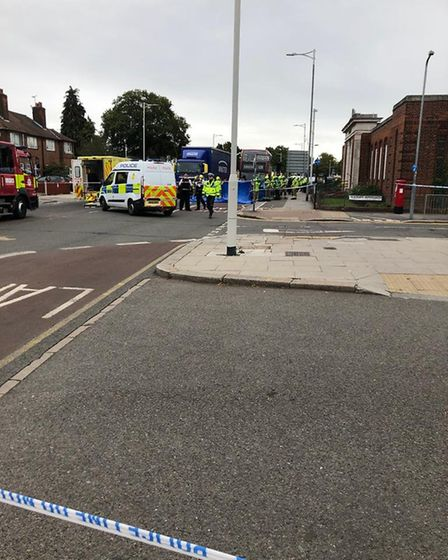 Police at the scene of the fatal accident. Picture: Ruth Clark