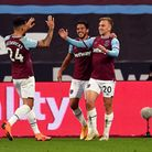 West Ham United's Jarrod Bowen celebrates scoring his side's first goal of the game during the Premi