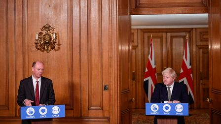 Chris Whitty and Boris Johnson at a Downing Street press conference