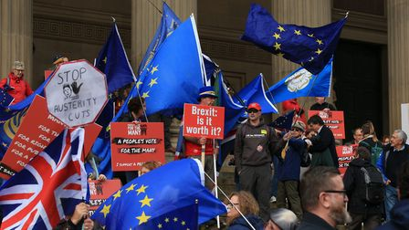 People protest against Brexit during the Labour party's annual conference. Photograph: Peter Byrne/P