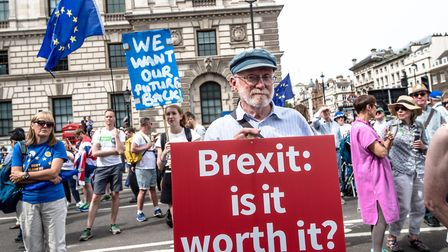 """A sign reading """"Brexit: Is it worth it?"""" is held up during a demonstration for a People's Vote. Phot"""