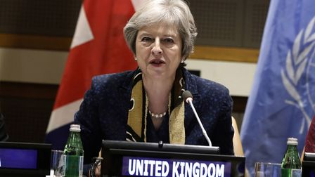 Theresa May speaking at the United Nations headquarters. (Peter Foley/Pool Photo via AP)