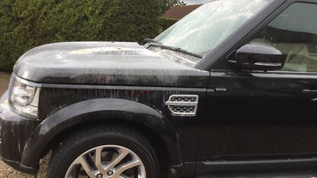 Land Rover Discovery belonging to Robert Boags of The Firs Reydon- which has been vandalised