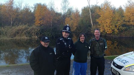 Fen Park Friends, the Environment Agency and Suffolk Constabulary join in new partnership. From left