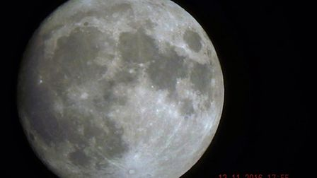 The full moon photographed from the North Denes in Lowestoft on Sunday, November 13. Picture: ANDREW