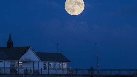 Supermoon over Southwold Pier. Photo: Colin Barley