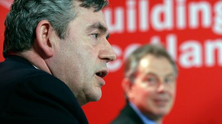 Gordon Brown alongside Tony Blair. (Photo by Ashley Coombes/Bloomberg via Getty Images)