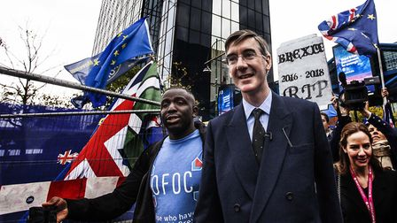 Jacob Rees-Mogg attends a 'funeral' for Brexit (Photograph: Our Future, Our Choice)