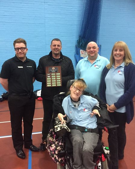 Gary Bennett attending Lowestoft Boccia Club at Water Lane Leisure Centre to present Mandy Martin an