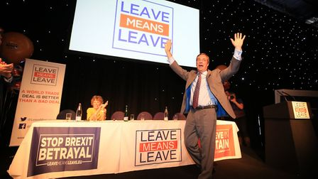Nigel Farage speaks at a Leave Means Leave Rally at the University of Bolton Stadium in Bolton Photo