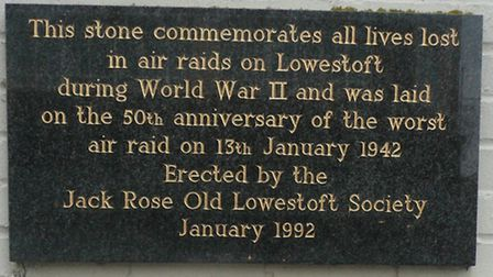 The plaque, commemorating all civilians killed in air raids on Lowestoft,
