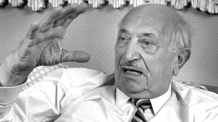 Portrait of Austrian author and Nazi hunter Simon Wiesenthal (1908 - 2005) during a photo shoot, Los