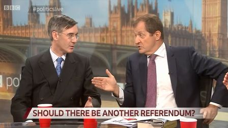 Alastair Campbell argues with Jacob Rees-Mogg on BBC Politics Live (Photograph: BBC)