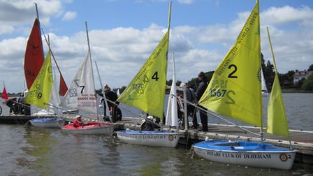 Waveney Sailability members preparing their boats for sailing. Picture: Sally Green.