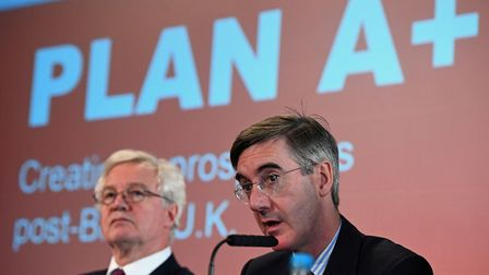David Davis MP (left) and Jacob Rees-Mogg MP at the launch of the Institute of Economic Affairs late