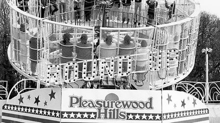 Visitors take a white-knuckle ride on the Round Up attraction in 1985 at Pleasurewood Hills. Picture: Archant.