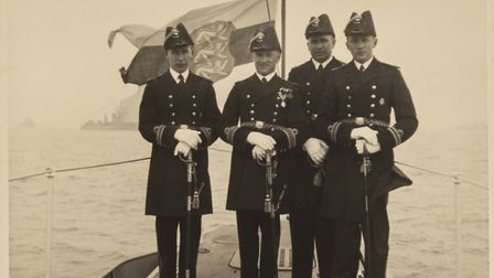 The crew of the Kalev at the 1937 Portsmouth naval parade. Photo: Estonian Maritime Museum