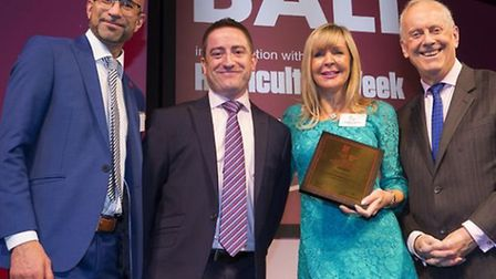 Ben Shaw account director Adtrack, Andrew Barringer and Stephanie Harrod of Harrod Horticultural and awards host Gyles...