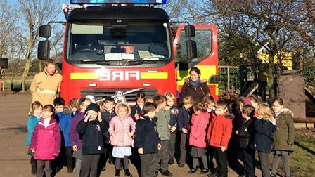 Suffolk Fire and Rescue Service visit Blundeston Primary School to talk to the reception class as part of the topic People...