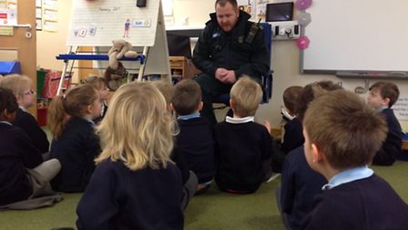 The East of England Ambulance Service visit Blundeston Primary School to talk to the reception class