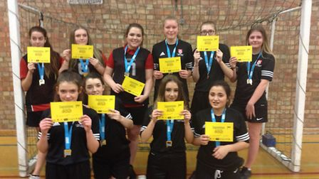 Ormiston Denes Academy girls who triumphed in the annual North Suffolk School Sports U15 Handball co