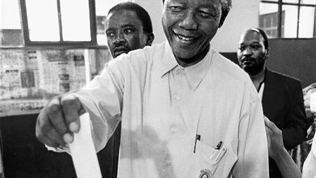 Nelson Mandela votes for the first time in his life, in 1994. Photo: Getty