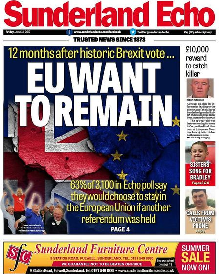 A front cover of the local newspaper claimed that the people of Sunderland have changed their mind o