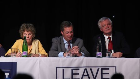 Kate Hoey MP, Nigel Farage and David Davis MP at a Leave Means Leave rally at the University of Bolt