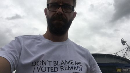 Political Editor Richard Porritt wearing a Remain t-shirt at the Leave Means Leave Rally