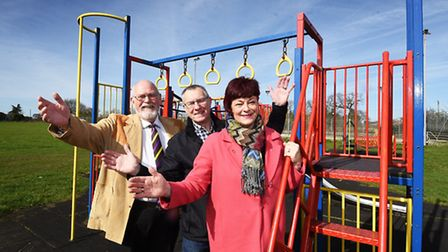 Refurbished Carlton Colville Community Centre play area. Pictured, left to right, Captain Jack Green