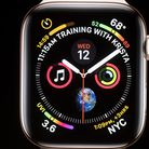 Apple COO Jeff Williams discusses Apple Watch Series 4 during an event on September 12, 2018, in Cup