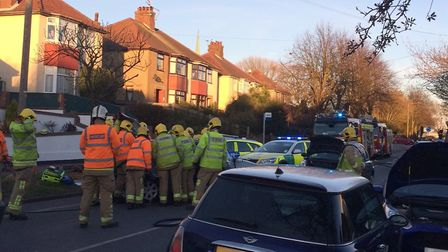 The scene of a road traffic collision on Oulton Road, Lowestoft. Picture: Geoff Maddison
