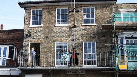 Southwold town mayor Melanie Tucker raises the Commonwealth flag above Southwold Town Hall as Southw