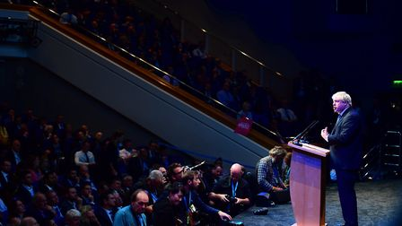 Boris Johnson speaking at a fringe event at the Conservative Party annual conference photo: PA