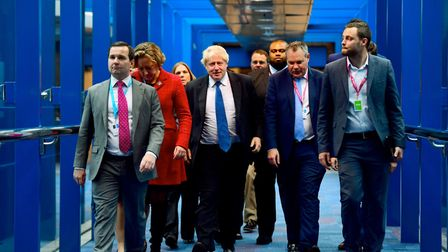 Boris Johnson arrives at Tory Party conference