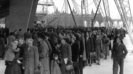 Bank Holiday crowds queue to enter the Dome of Discovery at the Festival of Britain Exhibition on Lo