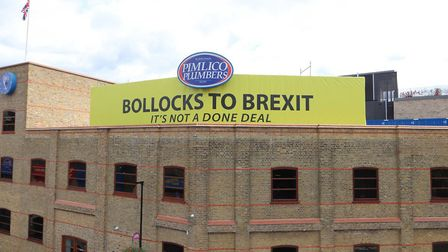 """The """"Bollocks to Brexit"""" sign above Pimlico Plumbers (Photograph: Pimlico Plumbers)"""