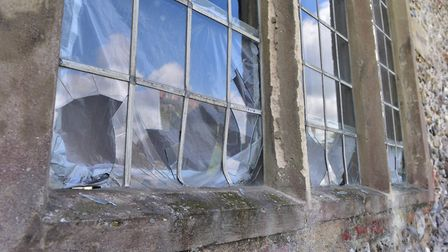 The damage left behind by vandals who smashed windows at a Pakefield church. PHOTO: Nick Butcher