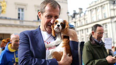 Alastair Campbell with his dog, Sky. Photograph: Yui Mok/PA Wire.