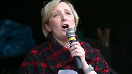 Stella Creasy MP speaks during the 'Wooferendum March'. Photograph: Yui Mok/PA Wire